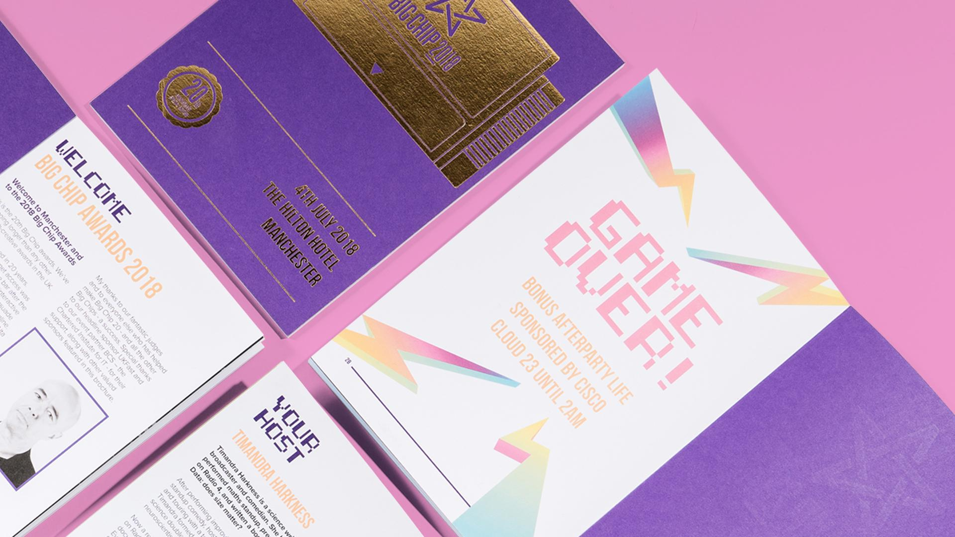 Big Chip branded and illustrated awards night booklet