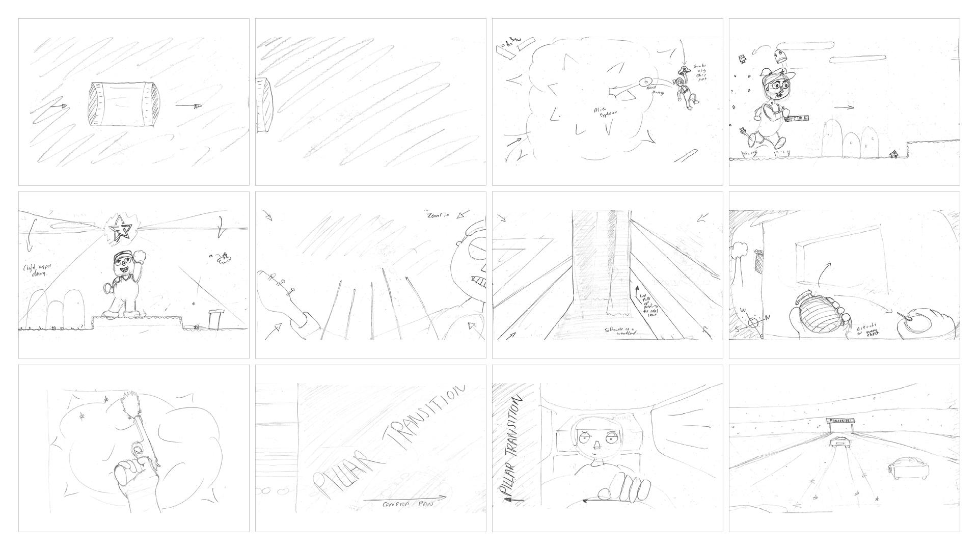 Big Chip Awards animation storyboard