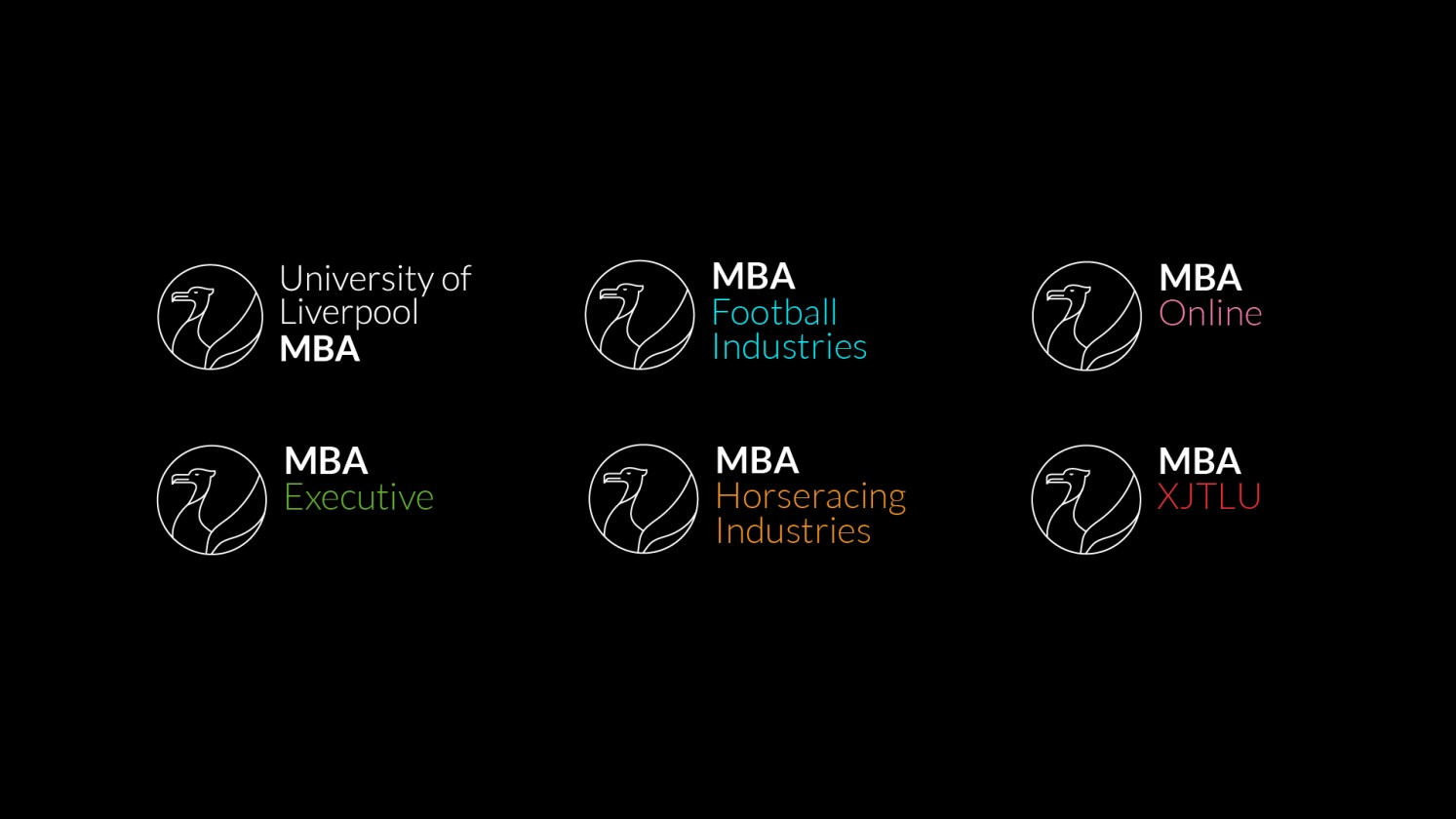 sub brands for Liverpool MBA course designed by Flow Creative