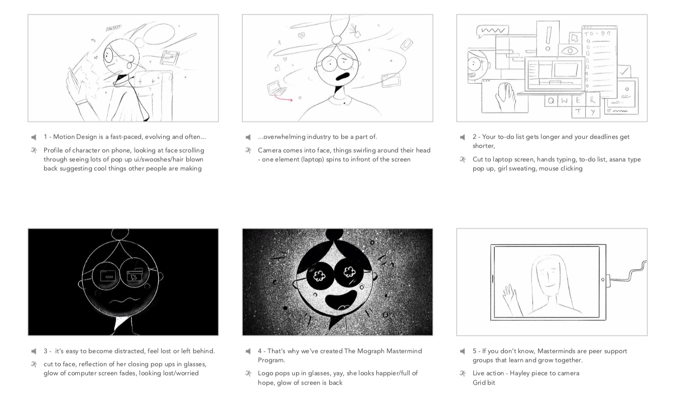 Mograph Mastermind Animation Storyboard initial sketches