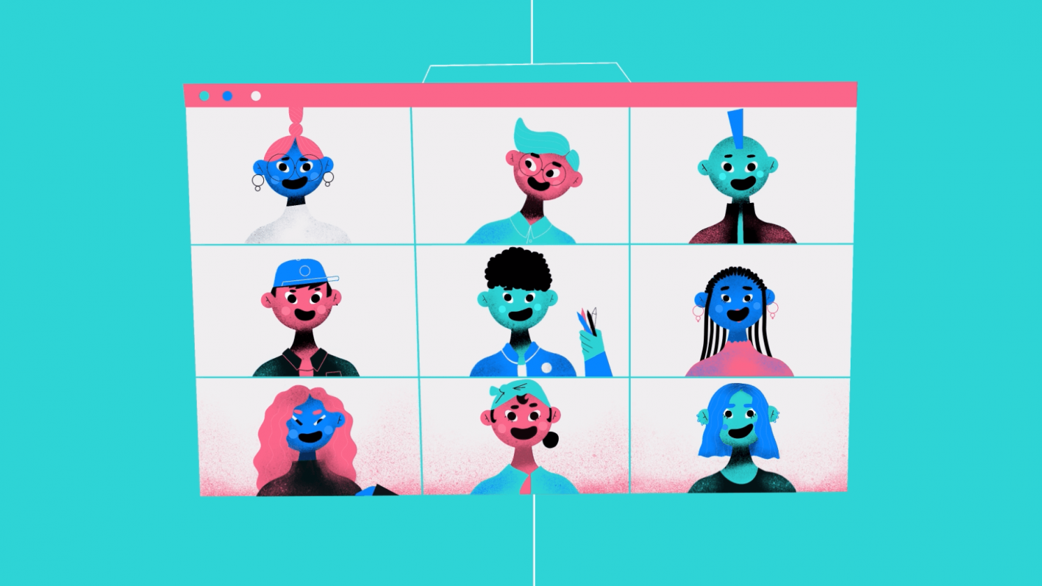 character animation of a group working online