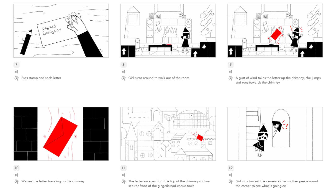 animation storyboard for Manchester Christmas Advert