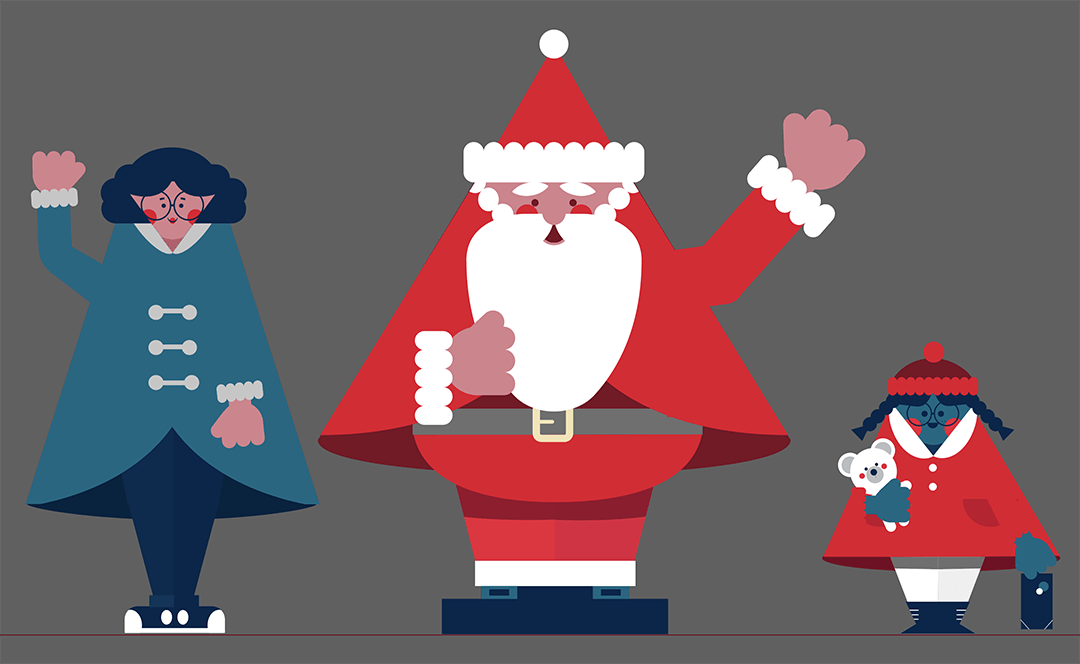 Character Designs for Animated Christmas Advert
