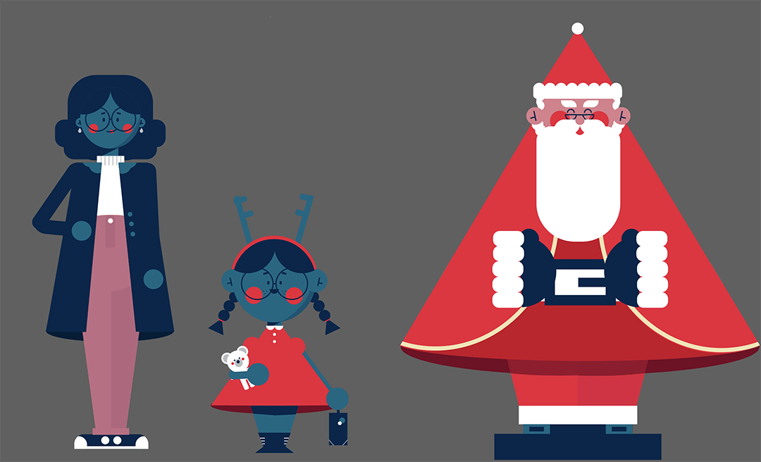 Illustrated Character Designs for Manchester Christmas Advert