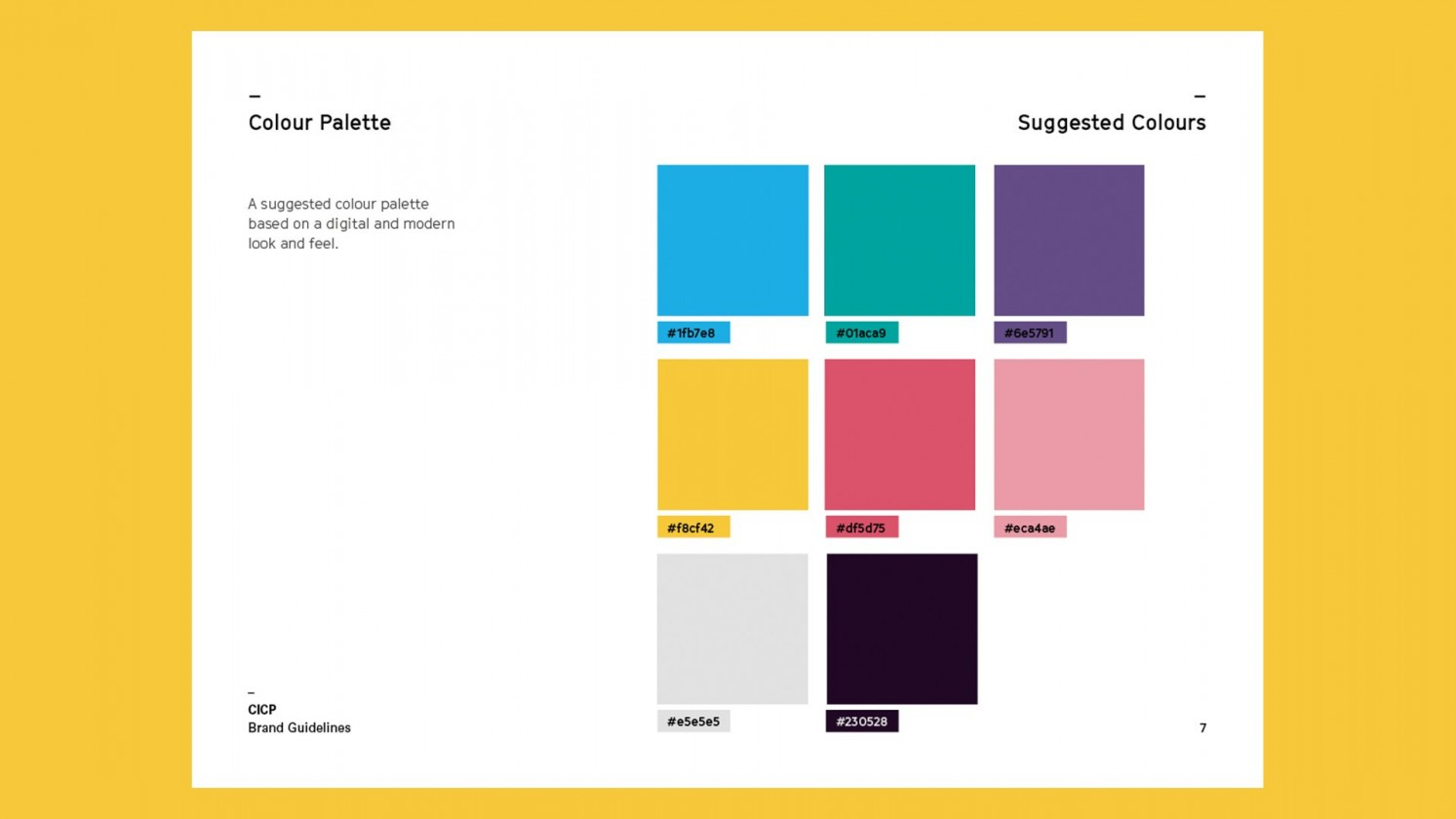 CICP brand colours from brand guidelines